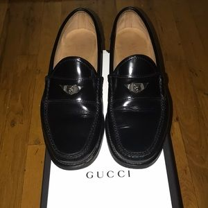 MENS GUCCI BLACK PATENT LEATHER LOAFERS SIZE 12
